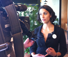 Cassandra Gekas spoke with reporters at her campaign launch. VTD Photo/Taylor Dobbs