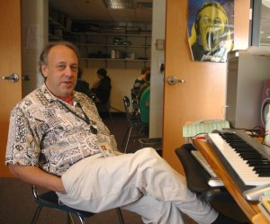 Bruce Sklar takes a break in his office at Harwood Union School. Photo by Andrew Nemethy