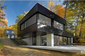 """Cantilevered House"" at Lake Dunmore, designed by Birdseye design-build firm in Richmond."