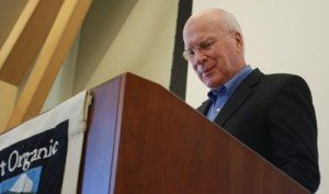 Sen. Patrick Leahy spoke to a packed ballroom of farmers at the NOFA-VT conference on Saturday, Feb. 16, 2013. Photo by Audrey Clark.