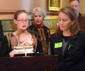 Ann Braden speaks at a gun safety rally in the Statehouse. Photo by Anne Galloway