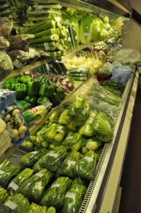 Vegetables on display at the Thai Phat market. Customers say owner Chau Nguyen (John) who makes weekly trips to Boston to replenish inventory, does his best to honor special requests for ingredients or produce. Photo by Dirk Van Susteren