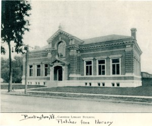 The Fletcher Free Library in Burlington was the grandest of the Carnegie libraries in Vermont. It has since doubled in size. Photograph courtesy of the Vermont Historical Society.