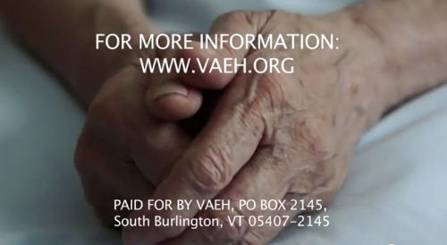 A screenshot from an ad by the Vermont Alliance for Ethical Health Care, which opposes Vermont's new physician-assisted death law.
