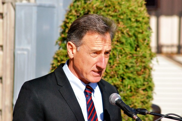 Gov. Peter Shumlin announces the opening of the West Ridge Center for Addiction Recovery at the Howe Center in Rutland during a ribbon-cutting ceremony outside the center on Tuesday. Photo by John Herrick/VTDigger
