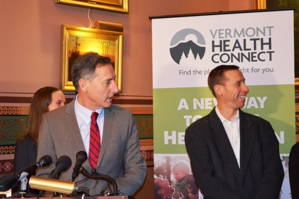 Gov. Peter Shumlin and Peter Sterling, executive director of Vermont Campaign for Health Care Security Education Fund, speak to reporters Thursday in the Cedar Creek Room at the Statehouse. Photo by Alicia Freese/VTDigger