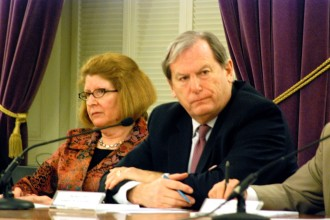 Sen. Diane Snelling, R-Chittenden, and Sen. Bob Hartwell, D-Bennington, heard testimony on whether to regulate the state's shorelands during a public hearing Wednesday night in Montpelier. Both serve on the Natural Resources and Energy Committee. Photo by John Herrick/VTDigger