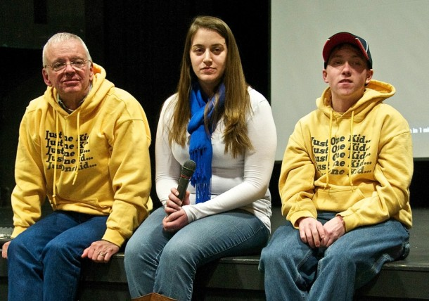 "During the Q&A after the showing of ""The Hungry Heart"" in Montpelier are, from left, Dr. Fred Holmes, Stephanie and Jess. Photo by Dirk Van Susteren"
