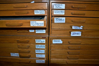 Forty large flat drawers, some of which are shown here, house a lifetime of cartoons and illustrations from the skilled, quirky pen and mind of Brookfield's Ed Koren. Photo by Andrew Nemethy