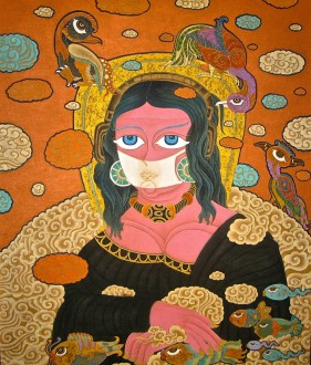 "One of the Tibetan paintings on display at the Fleming is this ""Mona Lisa"" by an artist identified as Dedron. Traditional and contemporary elements mix in this depiction of a ""Mona Lisa."" She is wearing a cloth mask -- an environmental statement -- to protect against the heavy air pollution now prevalent in Lhasa and other Himalayan cities. Photo by Tom Slayton"