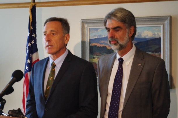 Gov. Peter Shumlin and Secretary of Administration Jeb Spaulding announced a reduction in revenue forecasts for fiscal year 2015 at a news conference Thursday, July 24. Photo by John Herrick/VTDigger