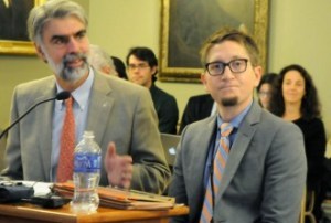 Beau Kilmer (right), co-director of the Rand Drug Policy Research Center, and Secretary of Administration Jeb Spaulding brief lawmakers Wednesday on the RAND study of marijuana legalization in Vermont. Photo by Hilary Niles/VTDigger
