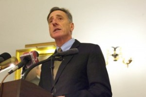 Gov. Peter Shumlin announces that single payer health care will not go forward in the next legislative session. Photo by John Herrick/VTDigger