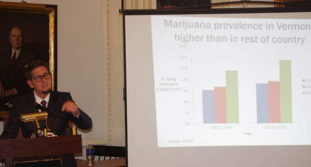 Beau Kilmer, co-director of the RAND Drug Policy Research Center, presents the group's study Friday, Jan. 16, 2015, at the Statehouse in Montpelier. Photo by Tom Brown/VTDigger