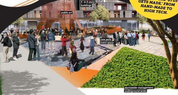 A mockup of a mixed-use district in the South End, presented by the city of Burlington and Goody Clancy, a design firm that supplied the image.