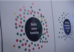 Red Light, Green Light, in its early stages, a piece by Amey Radcliffe that gathered input on various ideas in the South End development planning. Photo courtesy of Vimeo/Andrea Greyson