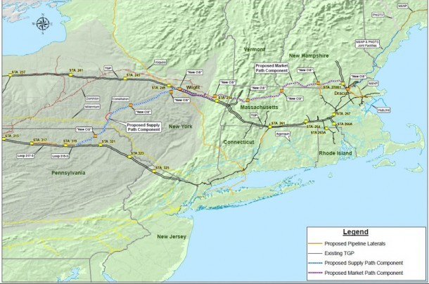 The blue and purple line is the proposed Northeast Energy Direct pipeline, which Vernon is considering tapping into for its proposed gas plant. Courtesy of Kinder Morgan