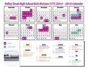 Calendar - Girls 14-15
