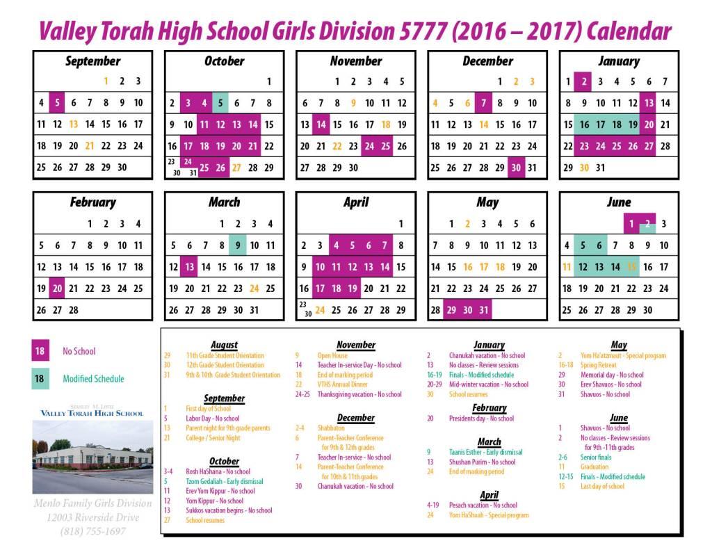 Calendar - Girls 16-17