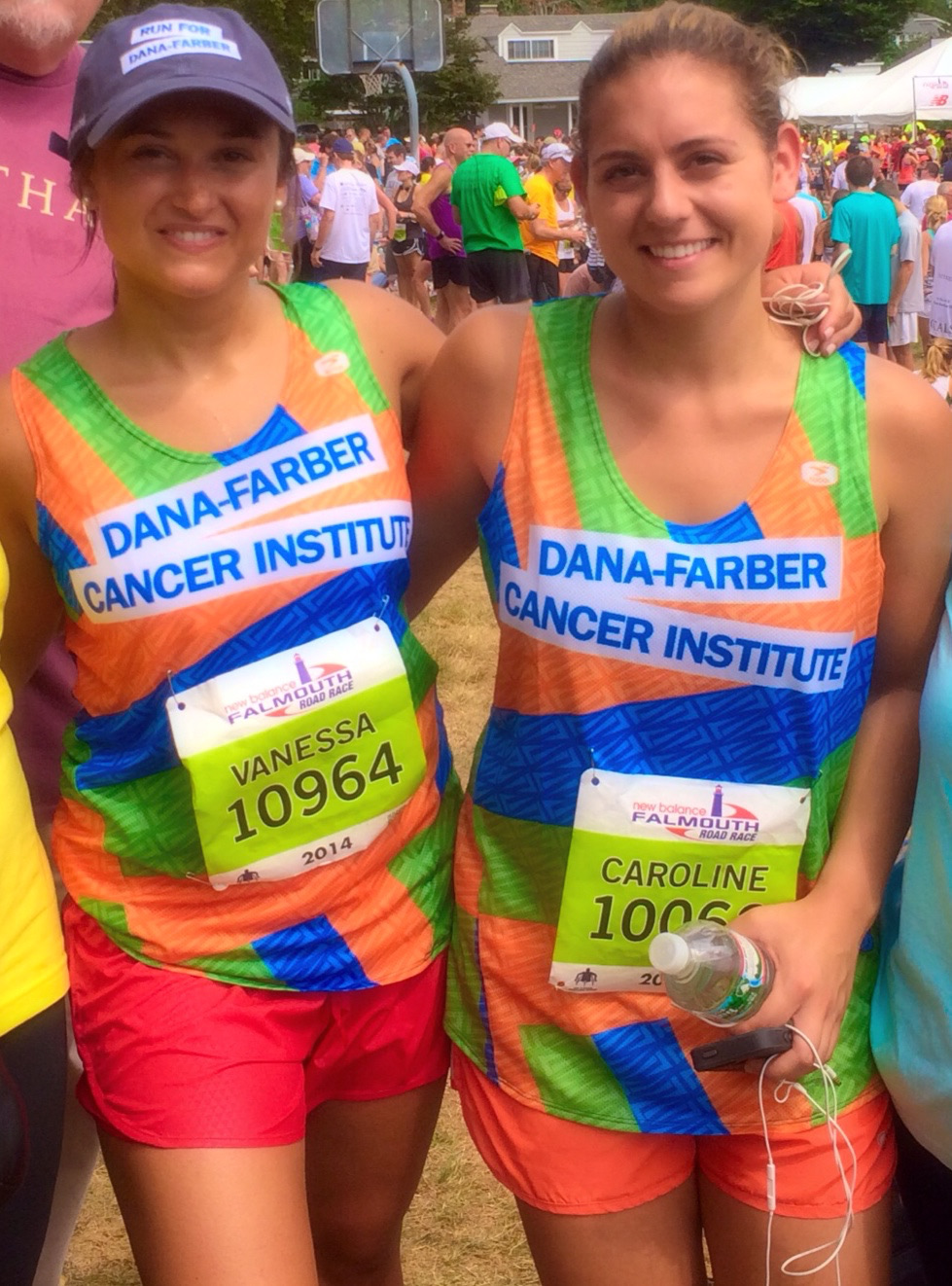 Vanessa and cousin Caroline at Falmouth Road Race, August 2014