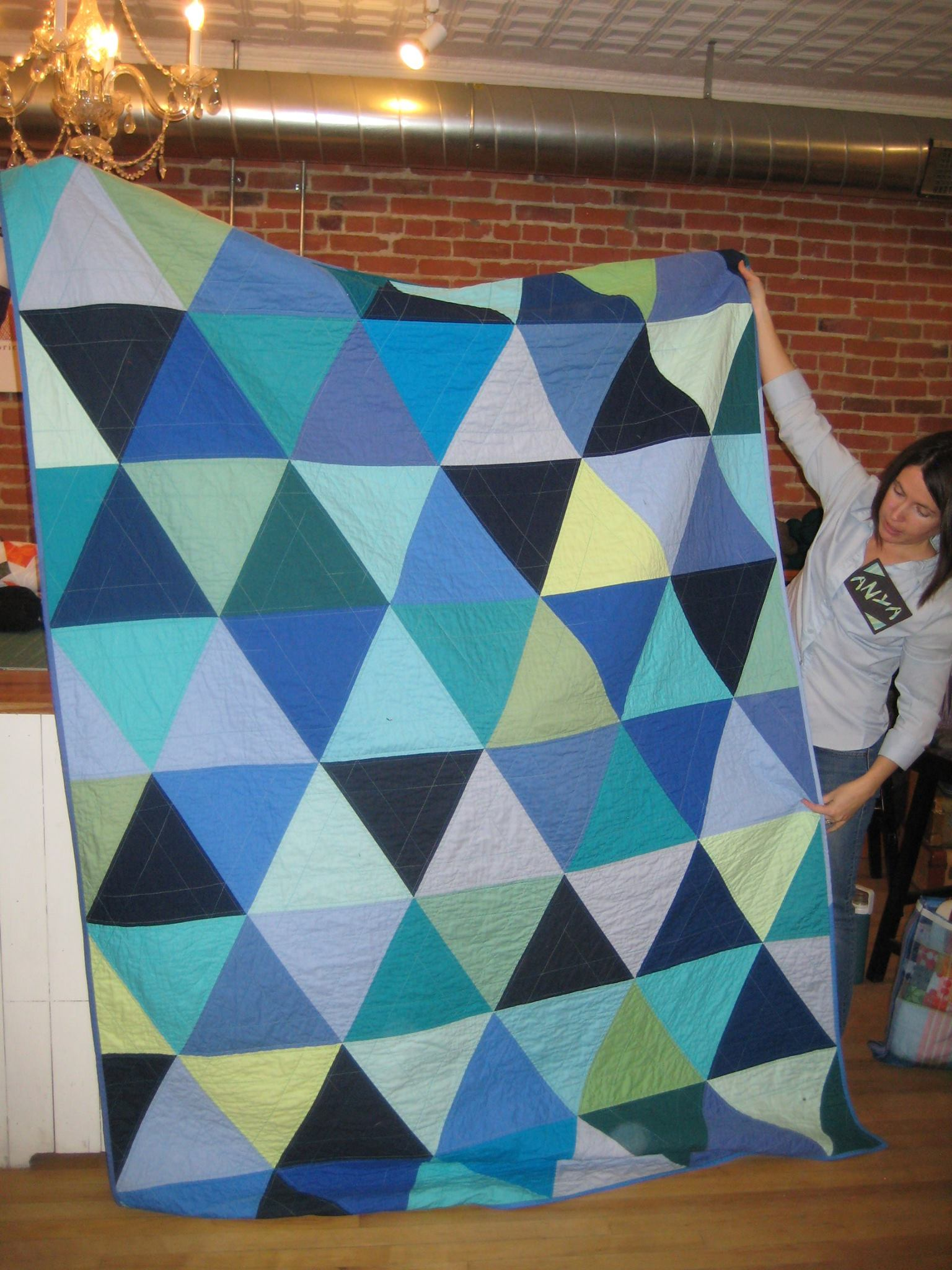 Shades of blue quilt for Anya's daughter.