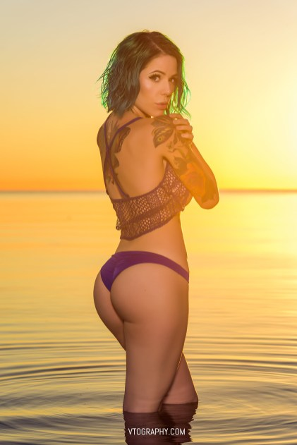 Gamer Girl wears Victoria's Secret for sunrise photo shoot