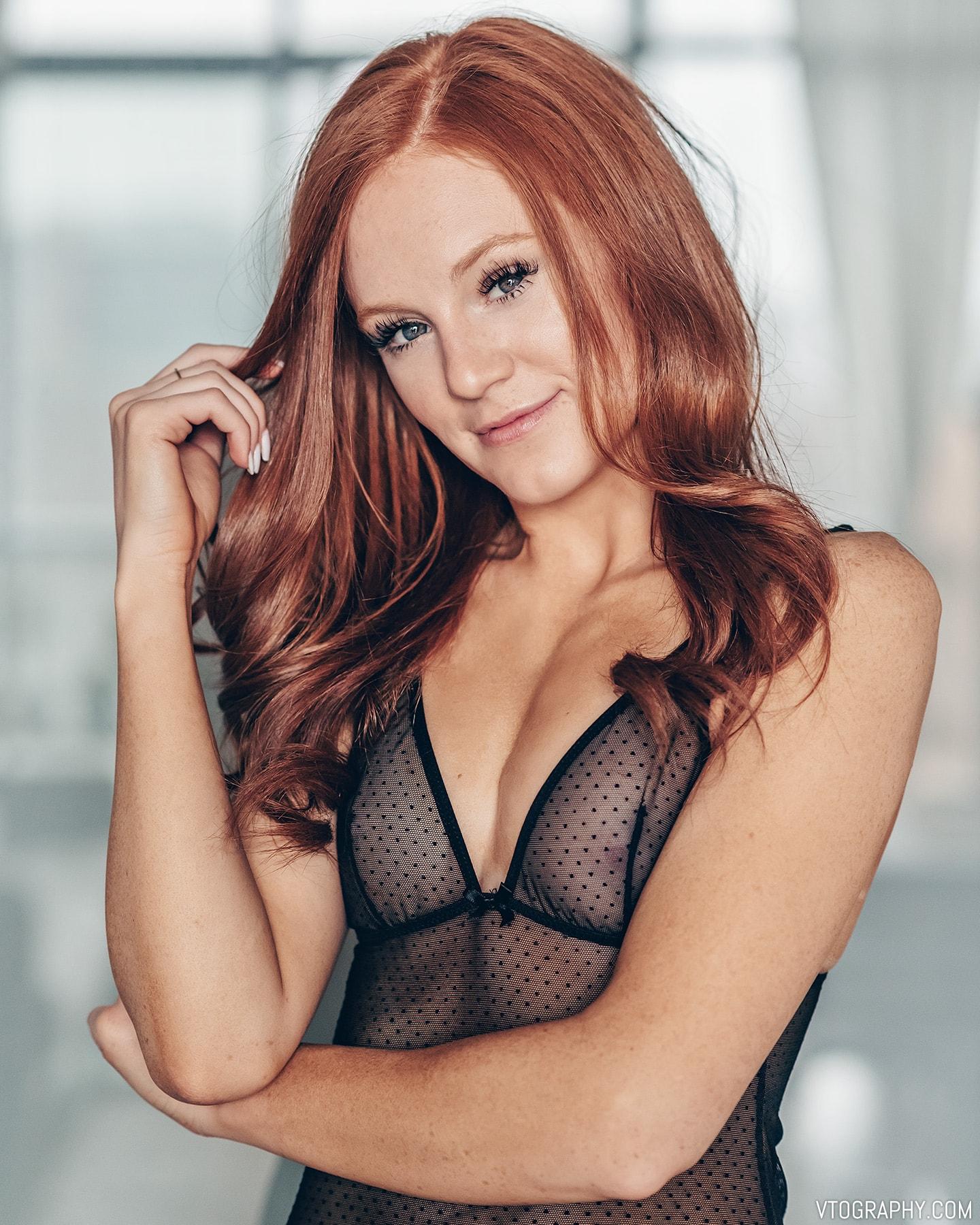 Redhead model Hannah in La Vie En Rose lingerie