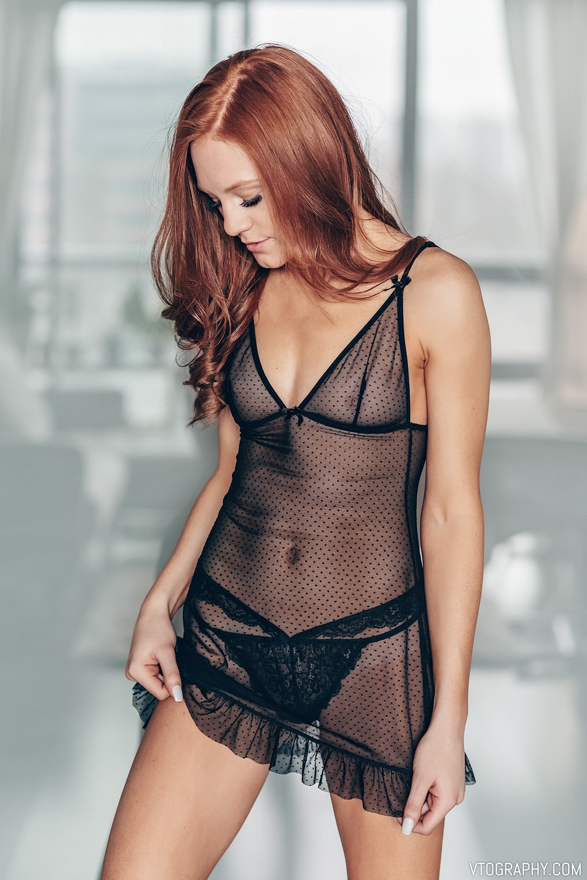 Redhead model Hannah in La Vie En Rose lingerie