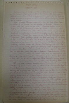 First page of manuscript for Bus Station Blues, Lucy Herndon Crockett Papers (Ms2011-032)