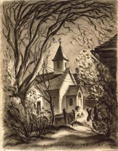Church in Blacksburg, Virginia (sketch) by G. Preston Frazer