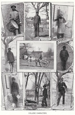 "The 1899 Bugle shows a collage of ""College Characters"", mainly custodians and groundskeepers. A 17-year-old Meade, called ""Hardtimes"", is pictured on the left of the 2nd row. Others pictured from left to right: Top row: Charles ""Sporty Sam"" Owens, Washington ""Uncle Wash"" Eaves, Granville Eaves; 2nd row: Meade, Sampson (Campbell?), ""Smoky Sam""; bottom row: ""Charles"", ""Me an' Kanode"", and ""Bill Bland""."