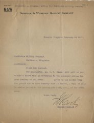 Letter from Norolk & Western Railway Company, February 24, 1917