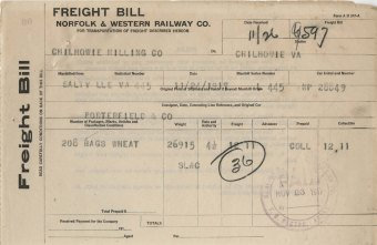 Freight bill from Norfolk & Western Railway Co., November 24, 1917