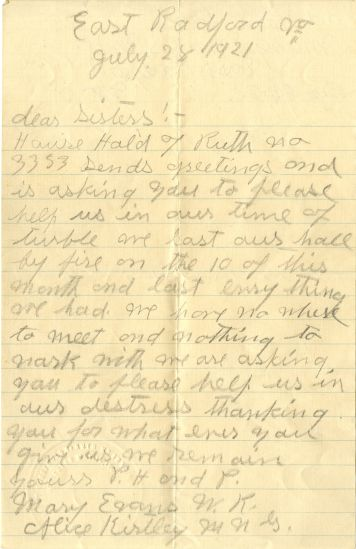 Letter from Radford lodge, Page 1. July 28, 1921.