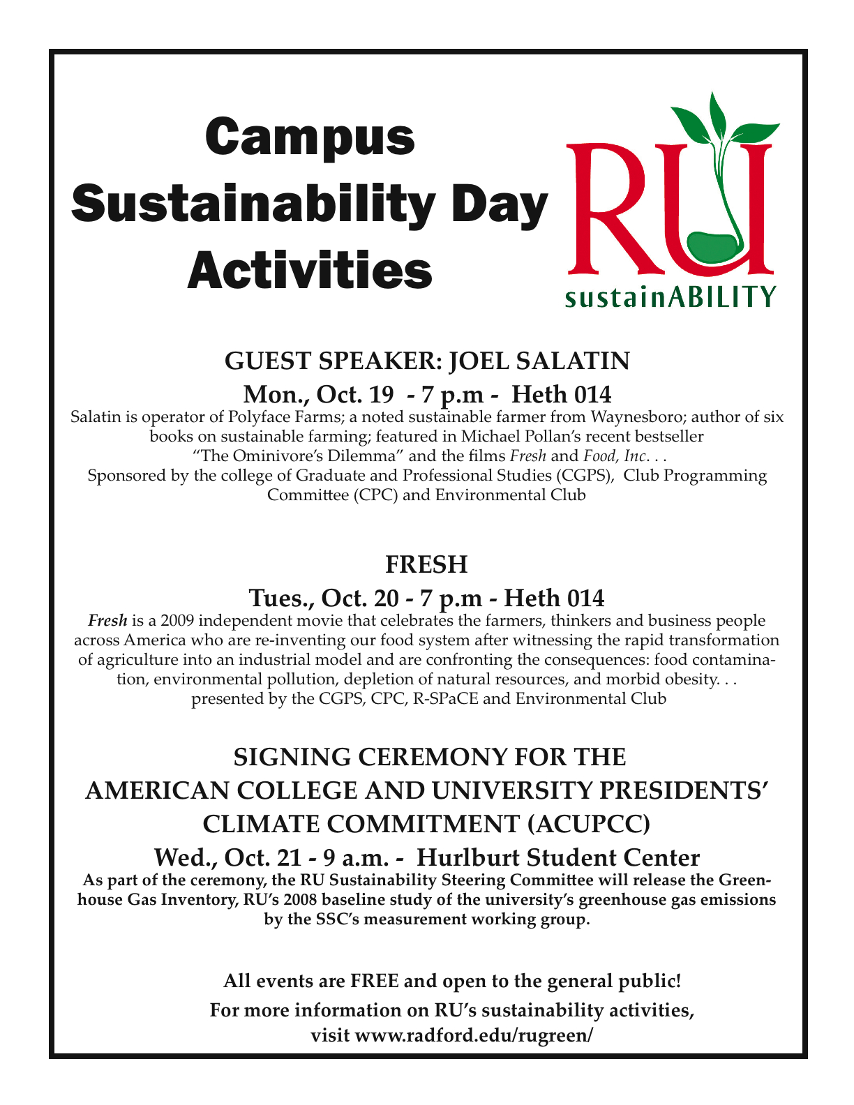 Campus SustainABILITY Day flyer