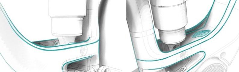 Au pied du tube oblique, lignes fluides pour intégrer au mieux le pied d'amortisseur et le sabot moteur.