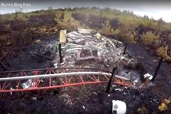 圖:三角洲伯恩斯沼澤區林火過後的內部情形。(視頻截圖)