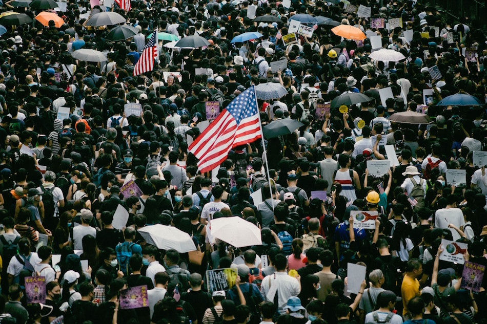 Protesters who marched to Hong Kong's U.S. consulate to call for help from the Trump administration in ending a three-month confrontation with the Hong Kong government, calling for the passing of the proposed Hong Kong Human Rights and Democracy Act 2019 by the U.S. Congress Sept 8. 2019. (Image: Joseph Chan / Unsplash)