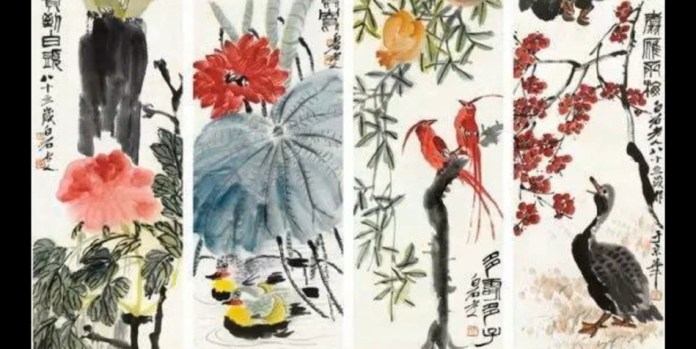 Four watercolor paintings of birds and flowers by Qi Baishi.