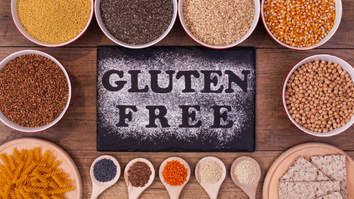 Gluten free written in flour surrounded by gluten free options of chickpeas and different pulses and grains