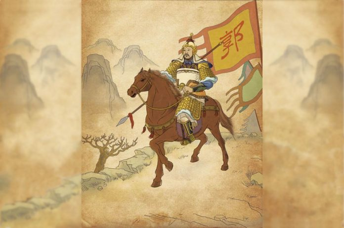 Illustration of an ancient Chinese general riding a horse and carrying a spear.
