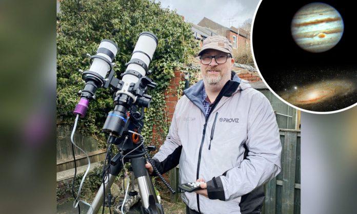 Star Gazing amateur astronomer Russell Atkin.