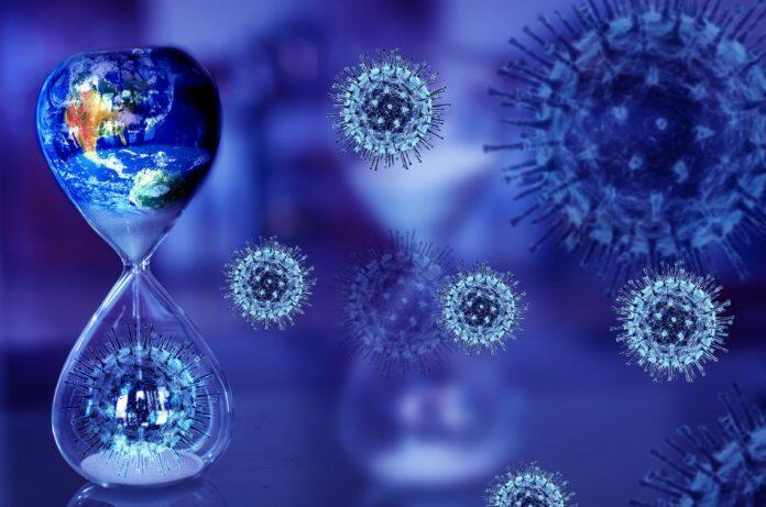 Image of the coronavirus on a blue background.