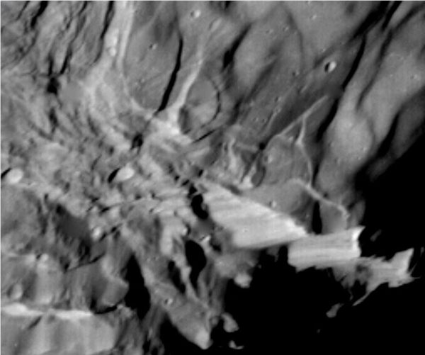 Image of Verona Rupes captured by Voyager 2 in 1986.
