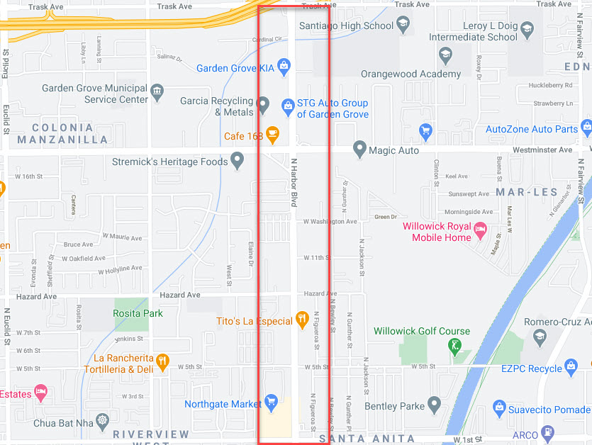 Shows where to pick up prostitutes in Orange County (the Track) on Harbor Blvd Anaheim and Santa Ana