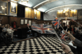 Singing Rule Britannia at the Vulcan 4382 Christmas White Table Event held at the historic Masonic Hall Abraham Lincoln Library in Alfreton