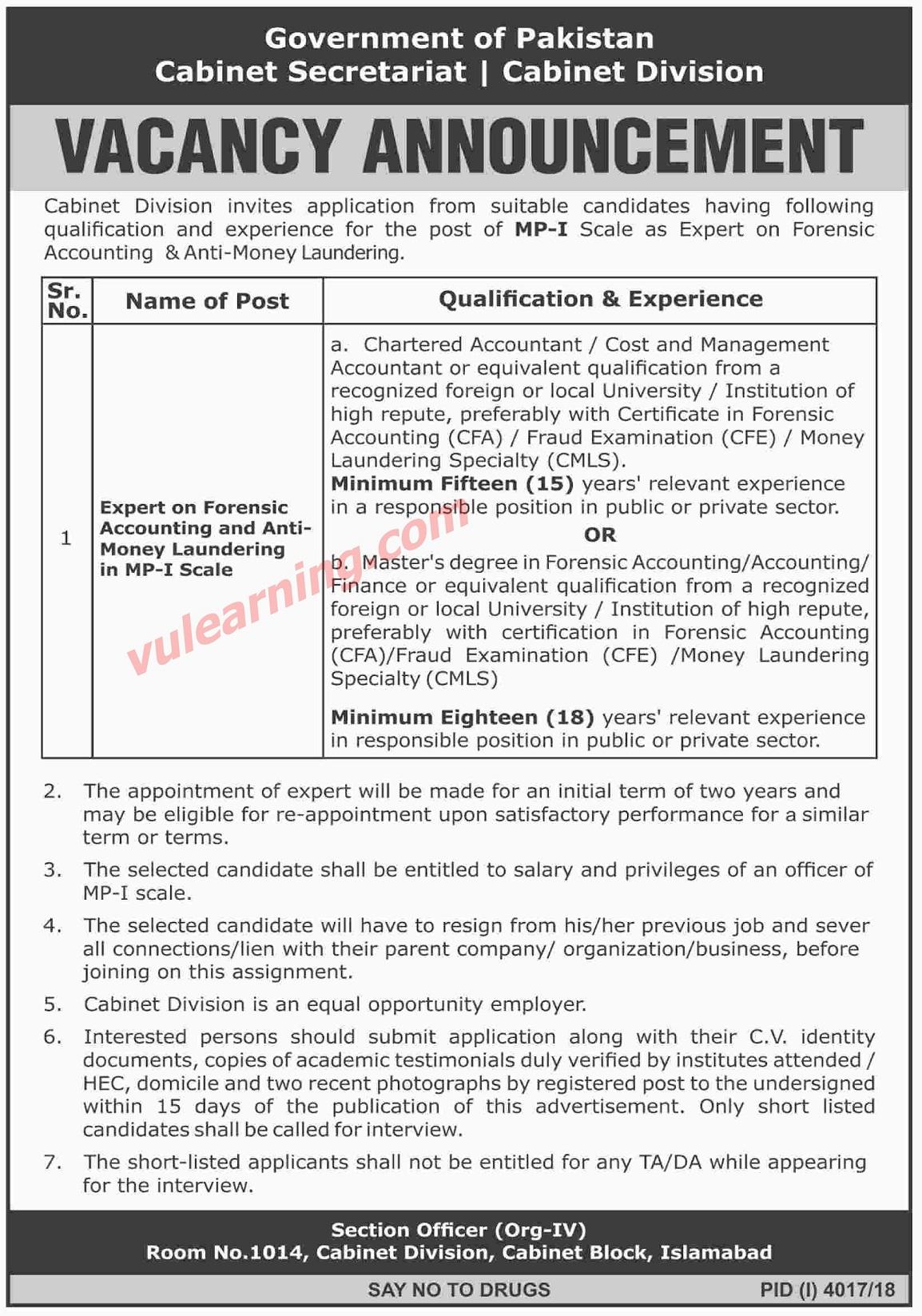 Govt Of Pakistan Cabinet Secretariat Cabinet Division