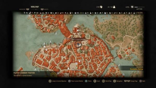 Location of the Fancy Shop Owner in Northern Novigrad