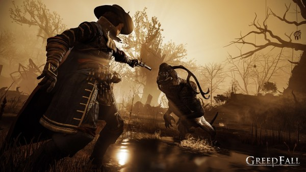 de sardet fighting a beast in greedfall