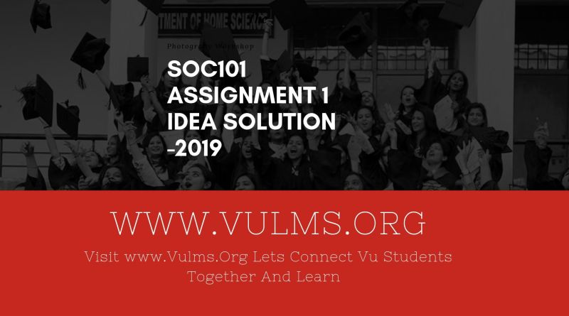 Soc101 Assignment 1 Idea Solution 2019